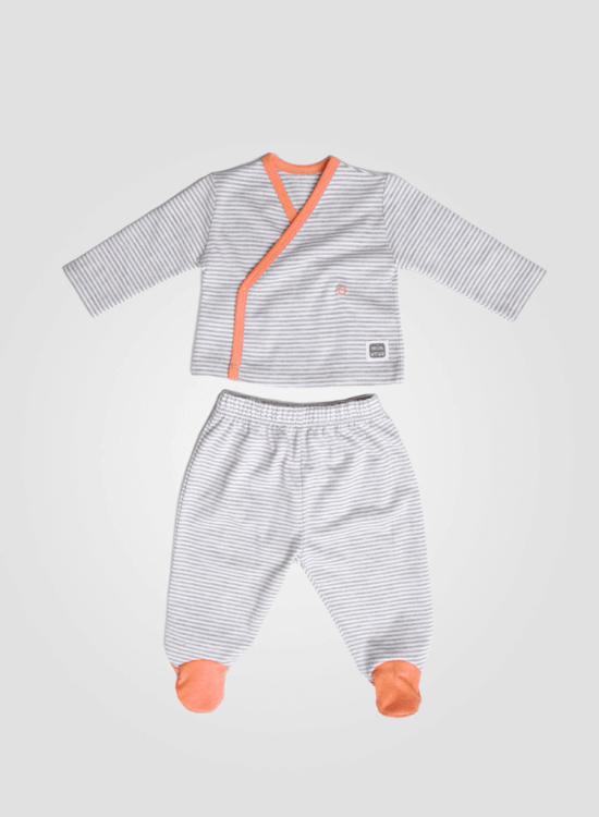 ropa bebe conjunto algodon lines orange minutus