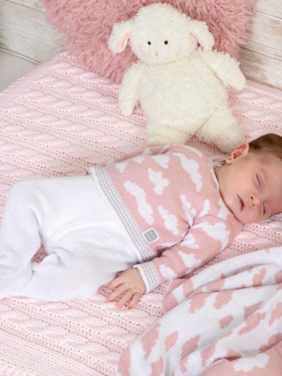 conjunto bebe algodon bunin rosa nubes suave
