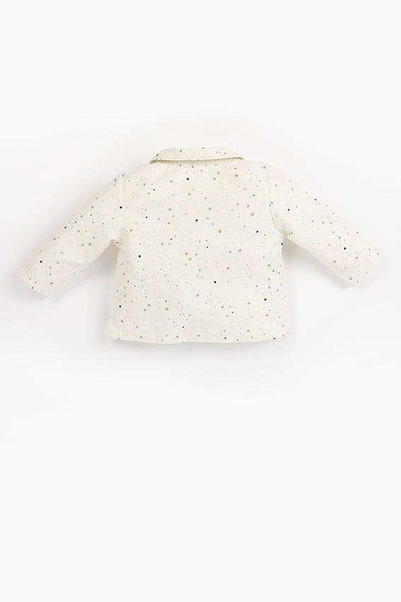 camisa bebe botones estrellitas beige chema detras