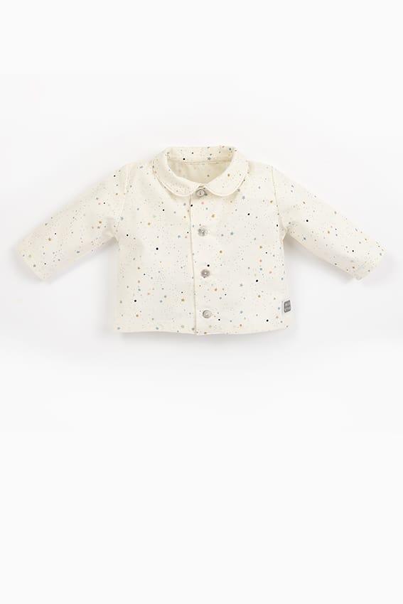 camisa bebe botones estrellitas beige chema