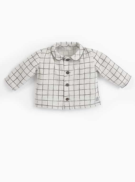camisa bebe botones cuadros gris cote