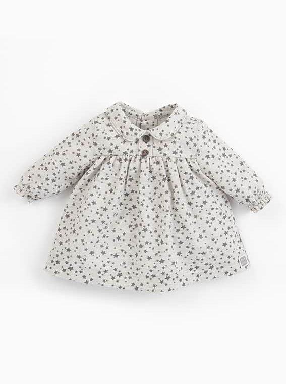 vestido bebe nina estrellitas beige